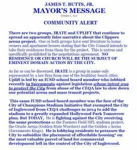 Clippers Arena Proposal Inglewood Mayor James T Butts Community Alert