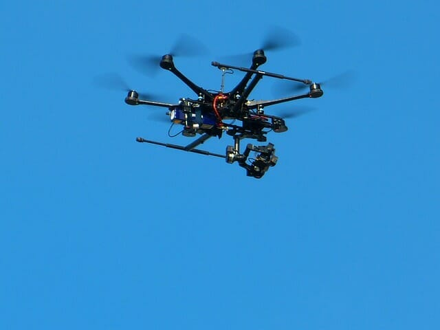 Surveillance Drone Flying Overhead