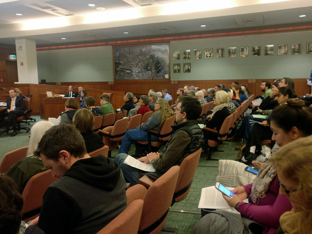 Culver City residents listen to the debate over surveillance drones for the Culver City Police Department