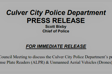 Culver City Police Department Drone Policy Press Release