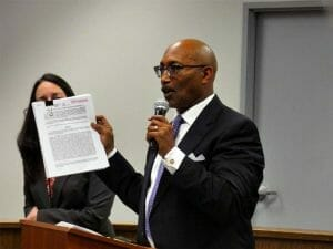 Royce Jones of Kane, Ballmer & Berkman law firm holds up the City's Exclusive Negotiating Agreement while Addressing Inglewood Residents