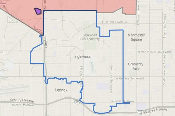 Map displaying the overlap between Sydney Kamlager's 54th Assembly District and the City of Inglewood.